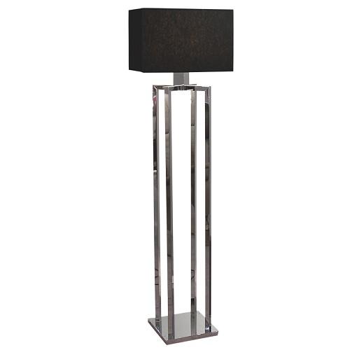 Vloerlamp chroom met zwarte kap