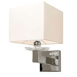 Wandlamp kristal, chroom met witte kap