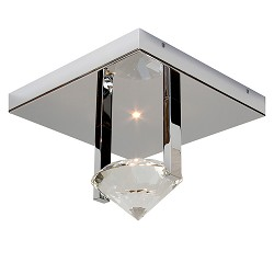 Plafondlamp design, chroom, kristal