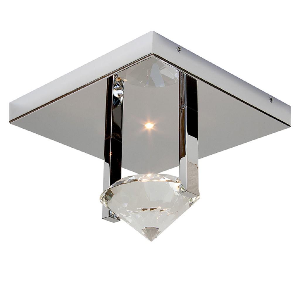 Plafonnière design, chroom, kristal