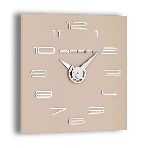 Moderne klok vierkant beige/taupe