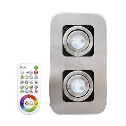 LED plafondlamp-spot staal Idual Quarto