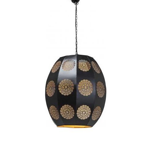 Oosterse hanglamp zwart/goud eettafel