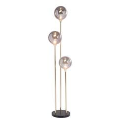 Slanke 3-lichts design vloerlamp met bollen en marmeren voet