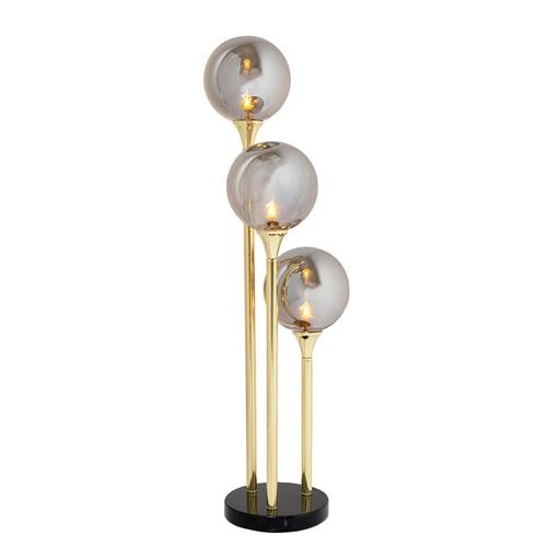 Slanke luxueuse tafellamp marmeren voet met glas bollen