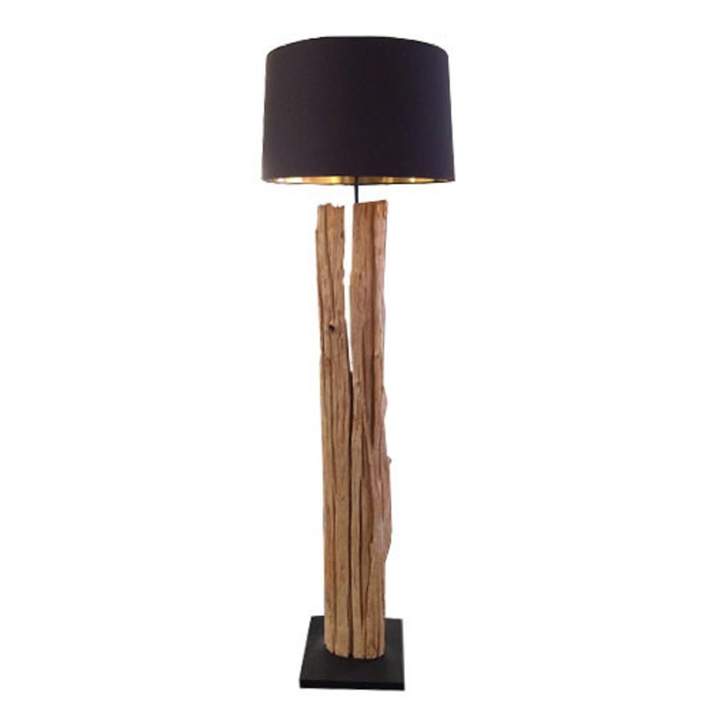 Drijfhout vloerlamp lifestyle zwarte kap