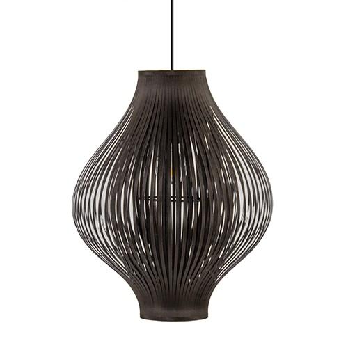 Speelse ronde hanglamp bruin stofreep