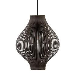 *Speelse ronde hanglamp bruin stofreep