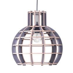 Hanglamp Globe hout/grijs 70cm