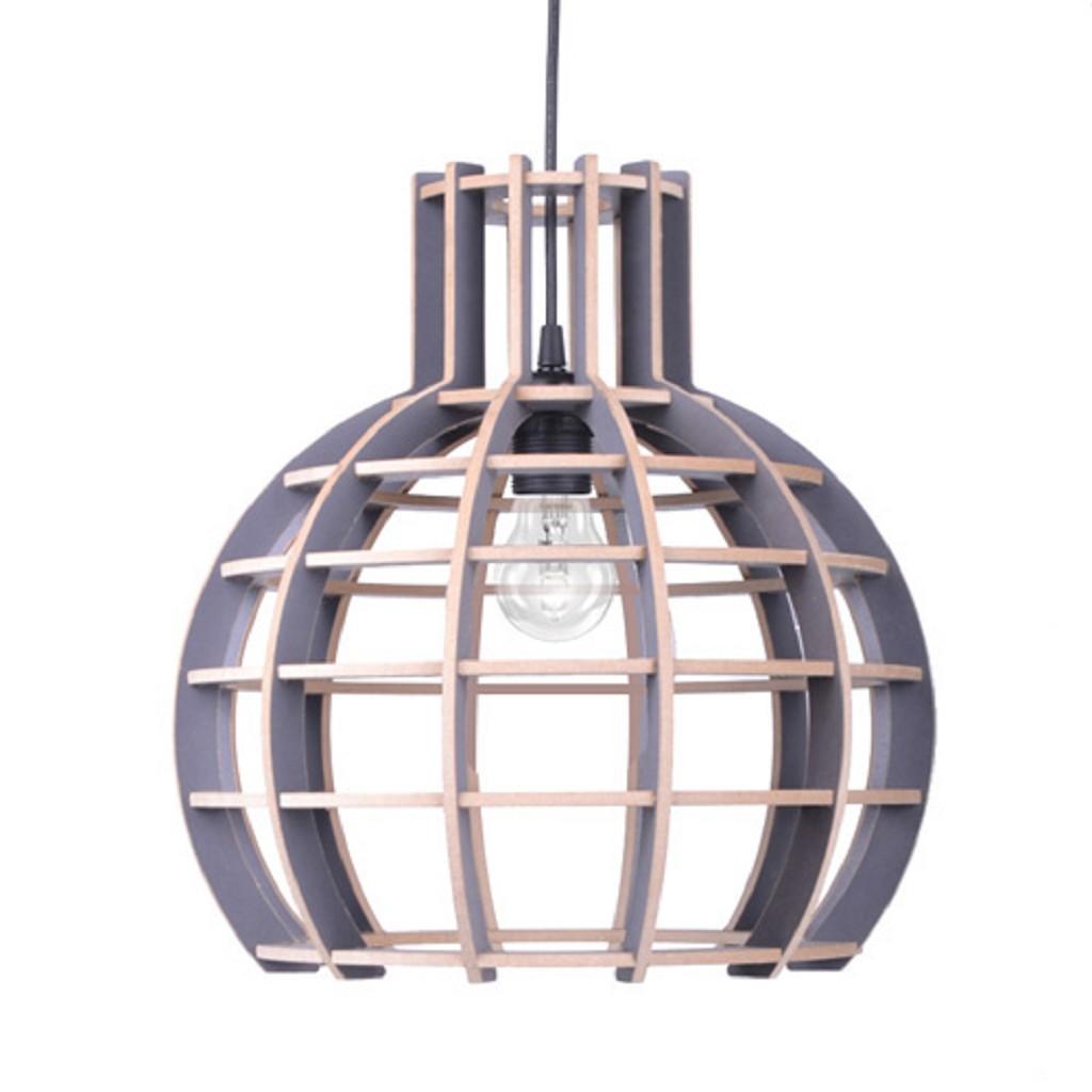 Houten bol hanglamp grijs 40 cm