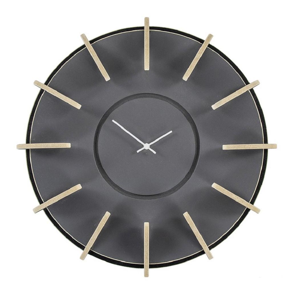 Houten klok zwart grijs 50 cm