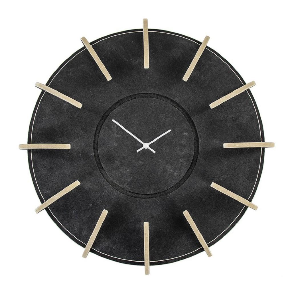 Houten klok Lingehof zwart op zwart 50 cm