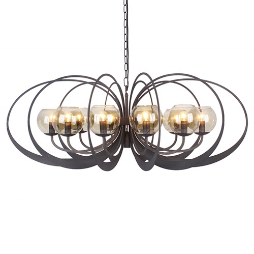 Zwart metalen hanglamp met smoke glas