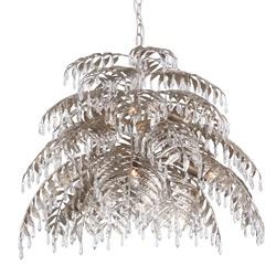 Ronde hanglamp palm ambachtelijk zilver