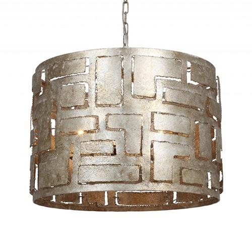 Ronde hanglamp ambachtelijk zilver