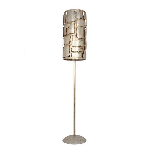 **Metalen design vloerlamp oud zilver