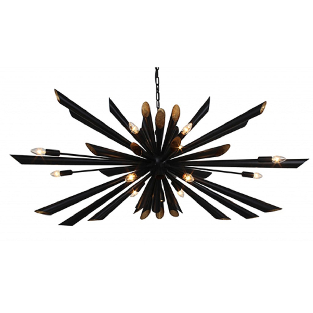 Ovale design hanglamp zwart metaal