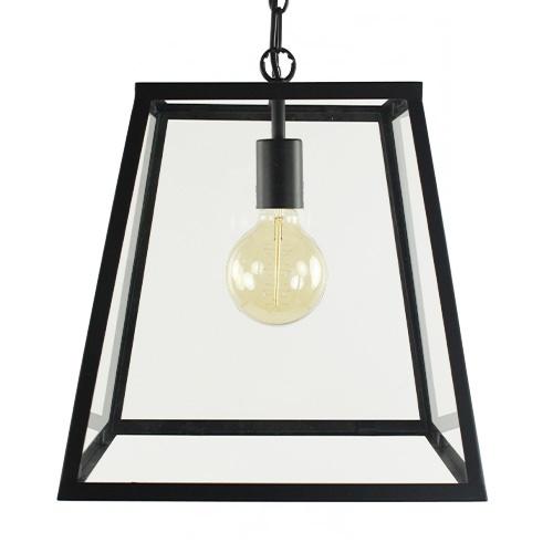 Zwarte lantaarn Saunte glas L&L