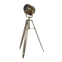 Industriele vloerlamp driepoot brons antiek