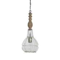 Landelijke hanglamp glas/hout L&L