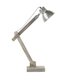 Grijze tafellamp hout met staal L&L