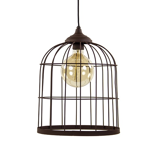 Metalen hanglamp kooi roestbruin L&L