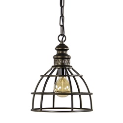 Metalen hanglamp paige kooi oud brons