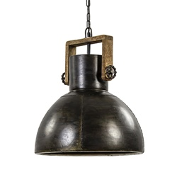Hanglamp Shelly industrieel bruin/hout