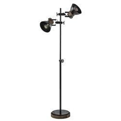 Industriële vloerlamp Jody metaal met hout