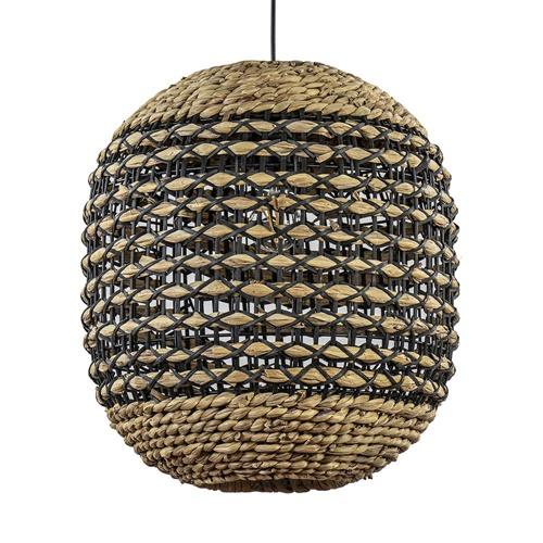 Ronde hanglamp Tripoli rotan met zwart