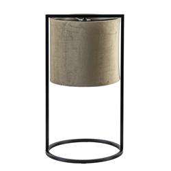 Tafellamp Santos mat zwart met licht bruine kap