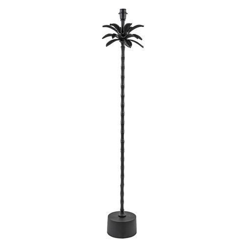 Mat zwarte vloerlamp Armata met palmbladeren