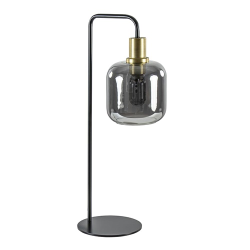 Tafellamp Lekar zwart/brons met smoke glazen kap