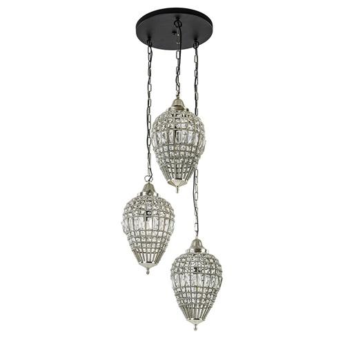 Ronde 3-lichts hanglamp Charlene nikkel/kristal