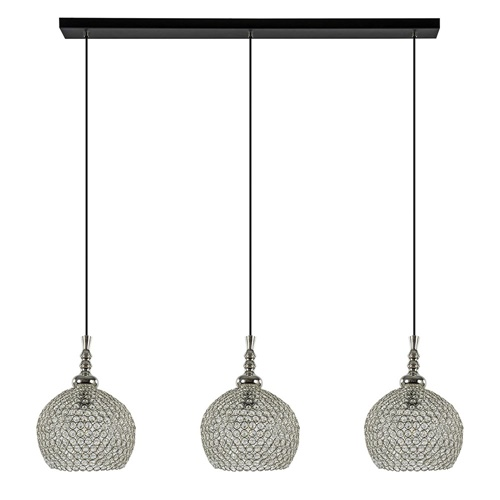 3-Lichts hanglamp Elmi chroom met kristal