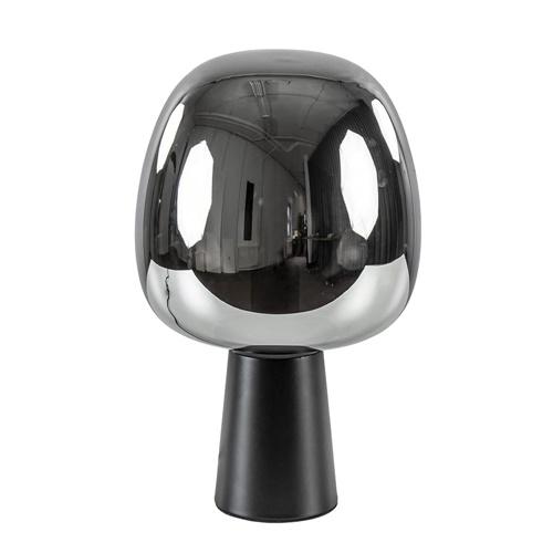 Mat zwarte tafellamp Mayson met smoke glazen kap