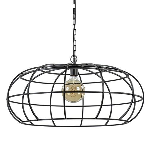 Grote hanglamp Imelda mat zwart metaal 73cm