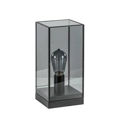 Kleine tafellamp Askjer zwart met smoke glas