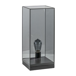 Tafellamp Askjer mat zwart met smoke glas