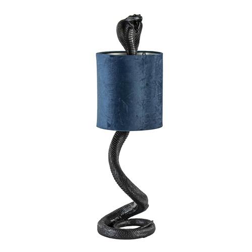 Tafellamp Snake zwart met kap velvet petrol blauw