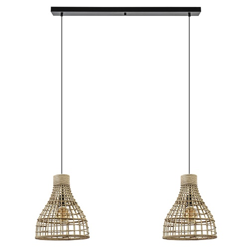 2-Lichts eettafelhanglamp Puerto rotan naturel