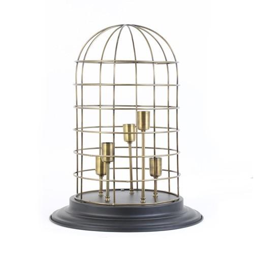 *Tafellamp 5-lichts vogelkooi brons zw
