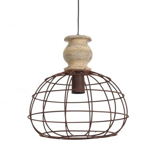 Landelijke hanglamp bol met hout knop