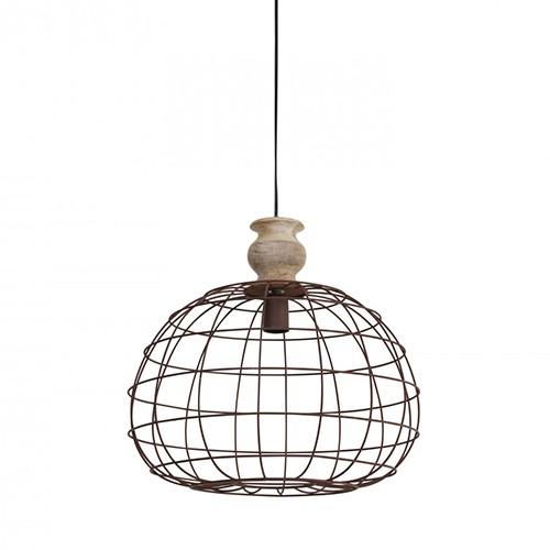 *Hanglamp bol landelijk met houten knop