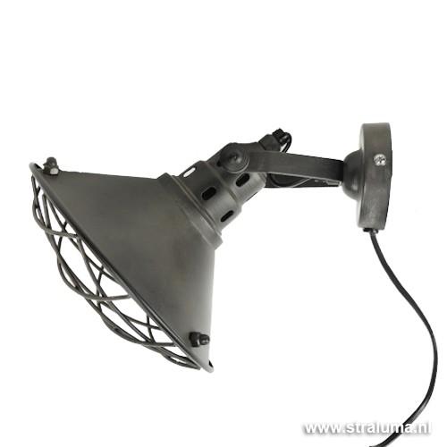 Stoere industriele wandlamp verstelbaar