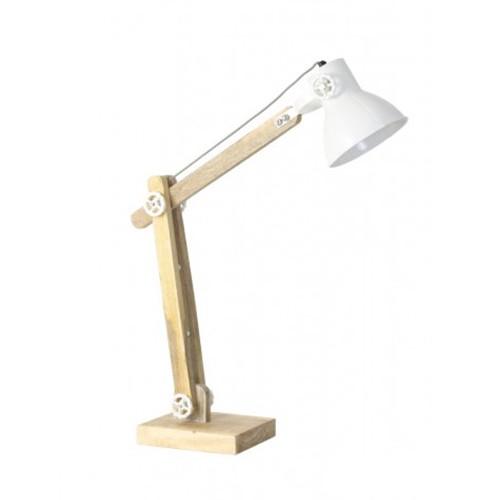 Scandinavische bureau-tafellamp hout-wit
