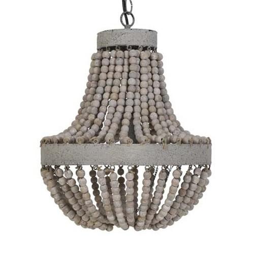 landelijk houten kralen hanglamp luna