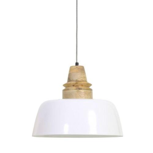 Scandinavische hanglamp wit/hout L&L