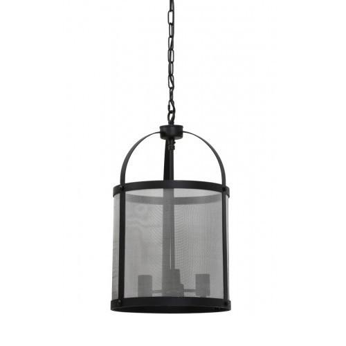 Ronde metalen hanglamp Lancelot zwart