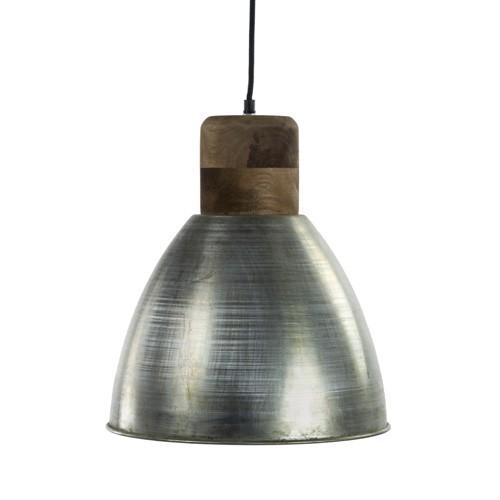 Landelijke hanglamp Ismay staal met hout